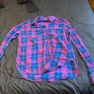 Button down blue and pink shirt